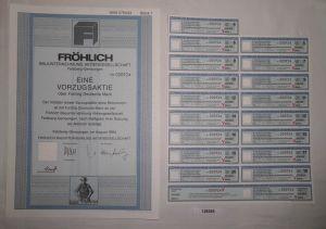 50 Mark Aktie Fröhlich Bauunternehmung AG Felsberg-Gensungen Aug. 1994 (128385)