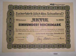 100 Reichsmark Aktie Zuckerfabrik Jülich Alex. Schoeller & Co. 1.4.1929 (128381)