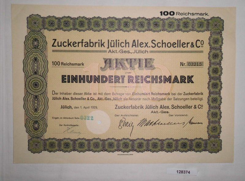 100 Reichsmark Aktie Zuckerfabrik Jülich Alex. Schoeller & Co. 1.4.1929 (128374)