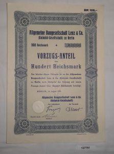 100 Mark Aktie Aktiengesellschaft für Baugesellschaft Lenz Berlin 1935 (127751)