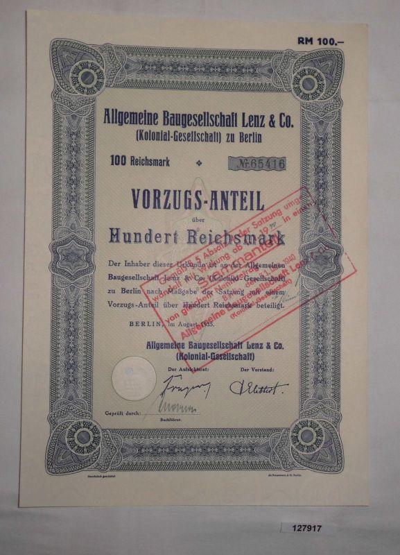100 Mark Aktie Aktiengesellschaft für Baugesellschaft Lenz Berlin 1935 (127917)