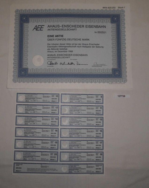 50 Mark Aktie Ahaus Enscheder Eisenbahn AG Ahaus Dezember 1988 (127738)