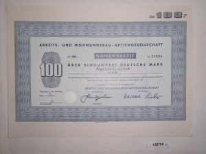 100 Mark Aktie Arbeits- und Wohnungsbau AG Herzberg/Harz September 1967 (128704)