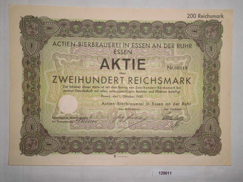 200 RM Aktie Actien-Bierbrauerei Essen an der Ruhr 1. Oktober 1930 (129011)