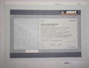 50 Mark Aktie Navis Schiffahrts- & Speditions-AG Hamburg Oktober 1995 (129041)