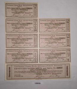 1000 Reichsmark Zinsschein Continental Gummi-Werke AG Hannover Dez 1941 (128539)