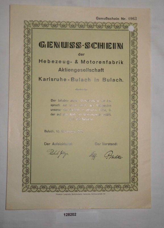 Genuss Schein Hebezeug Motorenfabrik AG Karlsruhe Bulach 15121926 128202
