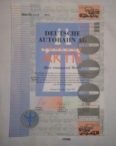 1000 Meter Vorzugsaktie Deutsche Autobahn AG Kamener Kreuz 1.April 1993 (127849)