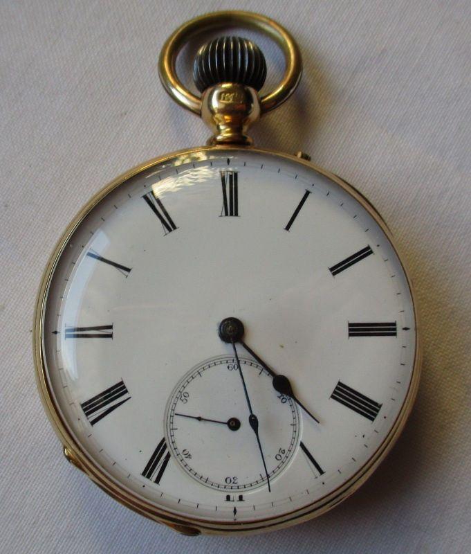 Goldene Taschenuhr 18 Karat Gold Spiral Breguet Remontoir um 1900 (125460)