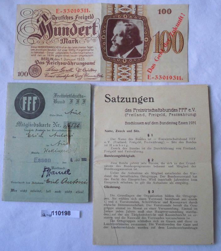 Seltener Ausweis, Abzeichen und Währung des Freiwirtschaftsbund 1932 (110198)