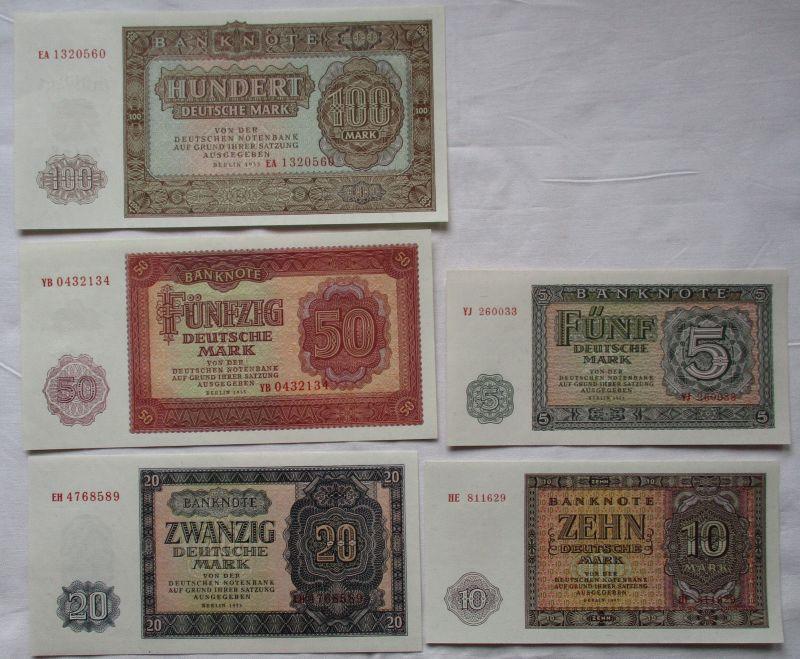 Satz DDR mit 5 Banknoten 5 -100 Mark 1955 UNC./ KASSENFRISCH ! (109686)