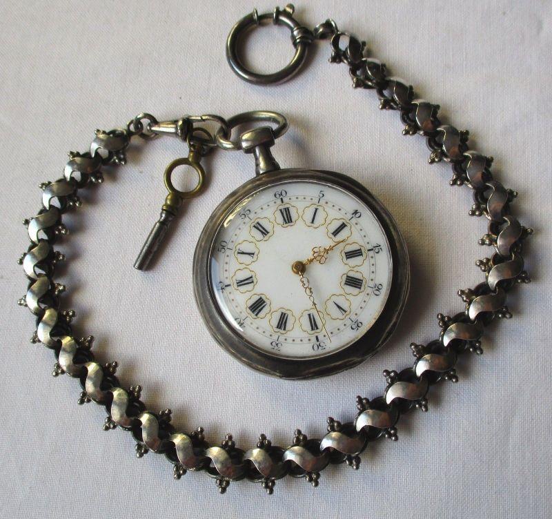 Hochwertige Feinsilber Taschenuhr mit Schlüsselaufzug & Goldverzierung (125425)