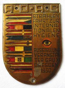 ADAC Plakette Strahlenfahrt zur internationalen Hygieneausstellung 1930 (106332)
