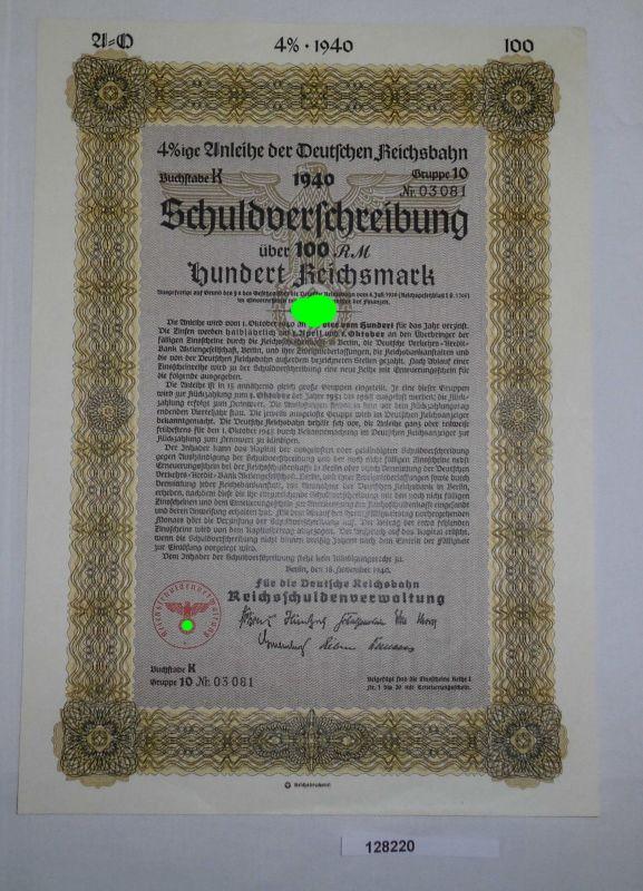 100 Reichsmark Schuldverschreibung der Deutschen Reichsbahn 18.11.1940 (128220)