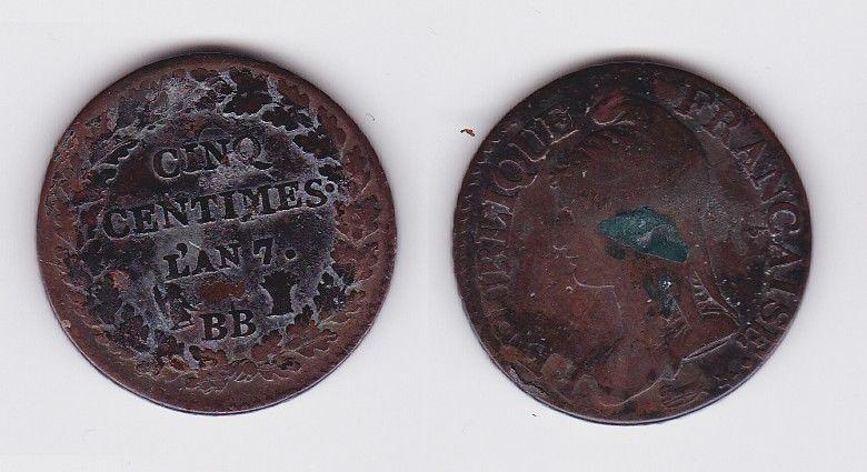 5 Centimes Kupfer Münze Frankreich L`AN 7 BB (119595)
