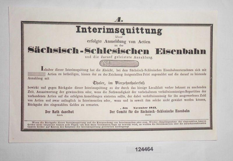 Blanko Interimsquittung Sächsisch-Schlesische Eisenbahn November 1843 (124464)
