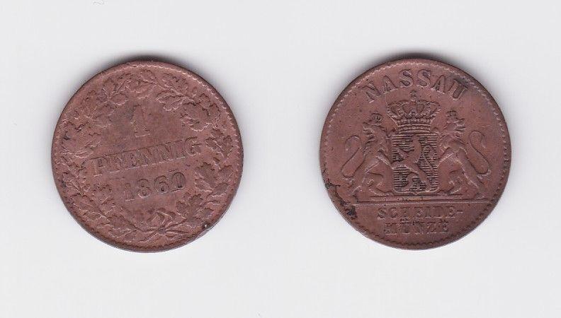 1 Pfennig Kupfer Münze Nassau 1860 (119325)
