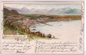 68334 Ak Lithographie Gruß aus Bregenz am Bodensee 1899