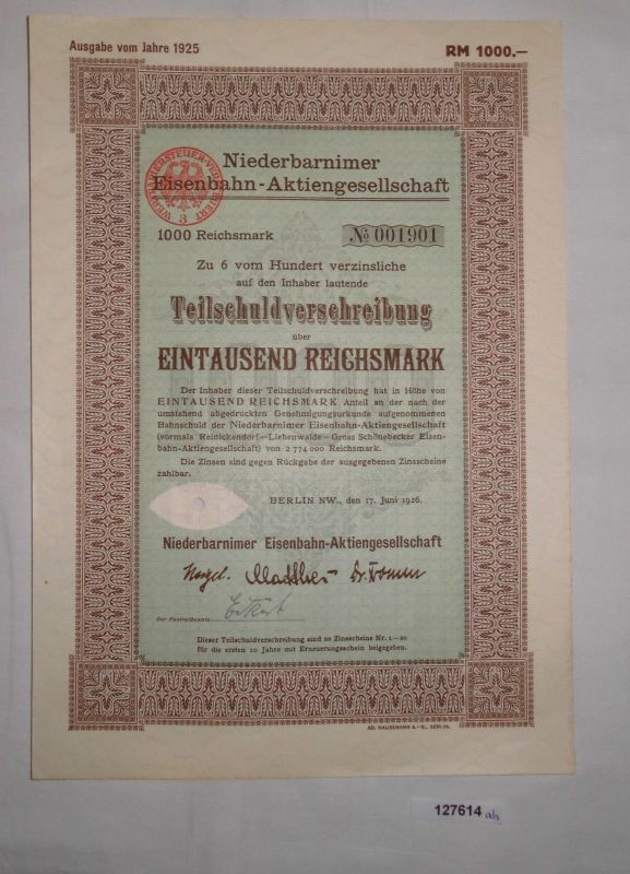 1000 Reichsmark Aktie Niederbarnimer Eisenbahn AG Berlin 17.Juni 1926 (127614)