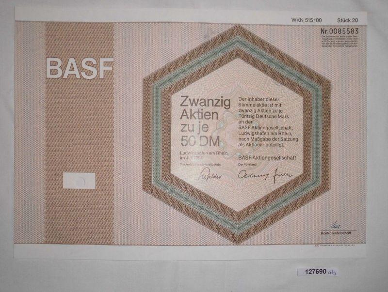 50 Mark zwanzig Aktien BASF AG Ludwigshafen am Rhein Juli 1984 (127690)