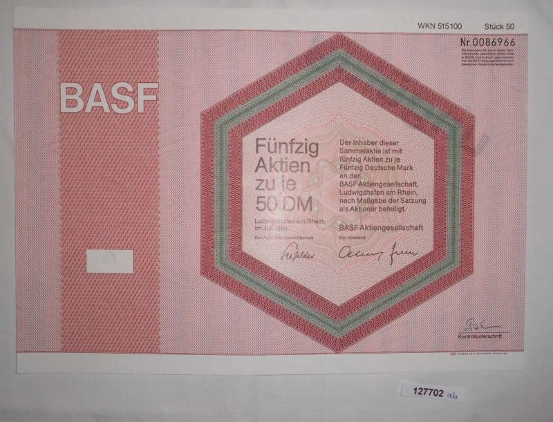 50 Mark fünfzig Aktien BASF AG Ludwigshafen am Rhein Juli 1984 (127702)