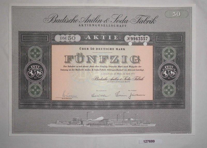 50 Mark Aktie Badische Anilin & Soda Fabrik AG Ludwigshafen April 1971 (127699)