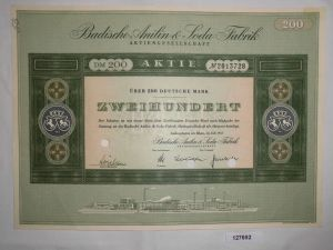 200 Mark Aktie Badische Anilin & Soda Fabrik AG Ludwigshafen Juli 1955 (127692)