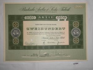 200 Mark Aktie Badische Anilin & Soda Fabrik AG Ludwigshafen Juli 1955 (127694)