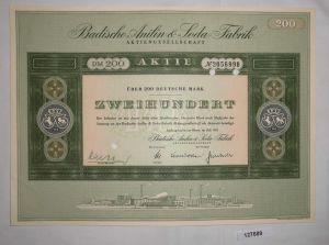 200 Mark Aktie Badische Anilin & Soda Fabrik AG Ludwigshafen Juli 1955 (127689)