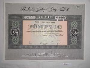 50 Mark Aktie Badische Anilin & Soda Fabrik AG Ludwigshafen April 1971 (128007)