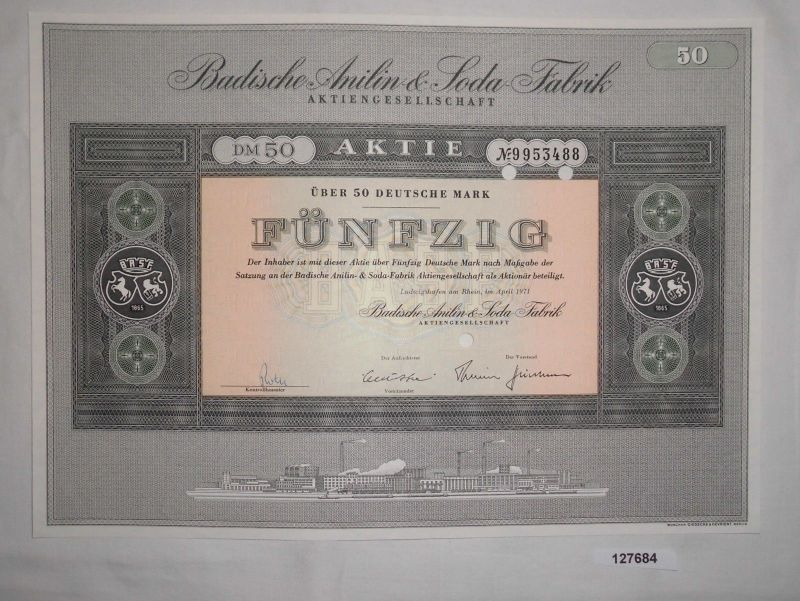 50 Mark Aktie Badische Anilin & Soda Fabrik AG Ludwigshafen April 1971 (127684)