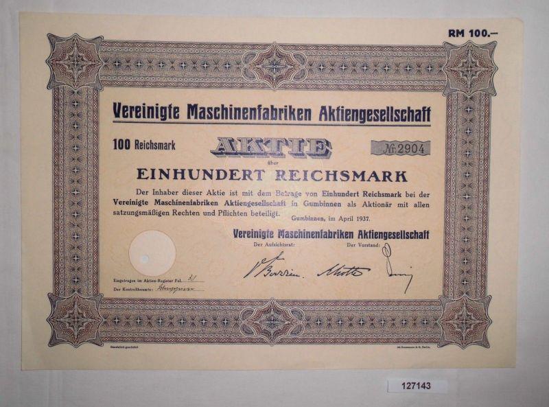 100 Reichsmark Aktie Vereinigte Maschinenfabriken AG  Gumbinnen 1937 (127143)
