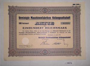 100 Reichsmark Aktie Vereinigte Maschinenfabriken AG  Gumbinnen 1937 (125775)