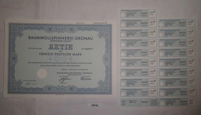50 Mark Aktie Baumwollspinnerei Gronau in Westfalen Oktober 1987 (128720)