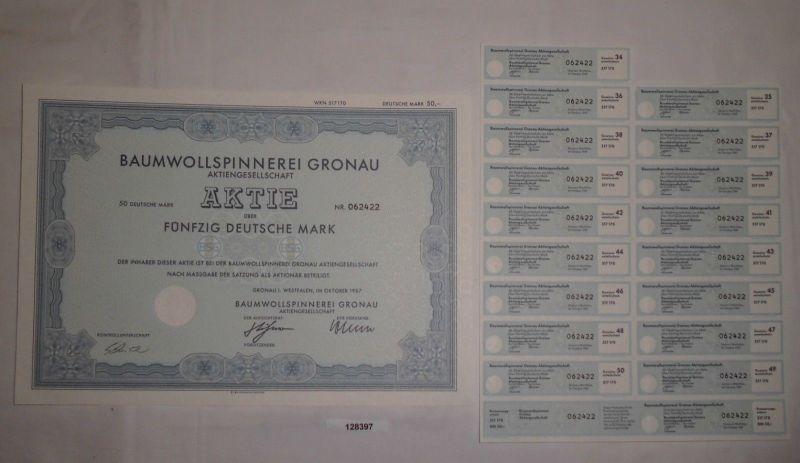 50 Mark Aktie Baumwollspinnerei Gronau in Westfalen Oktober 1987 (128397)