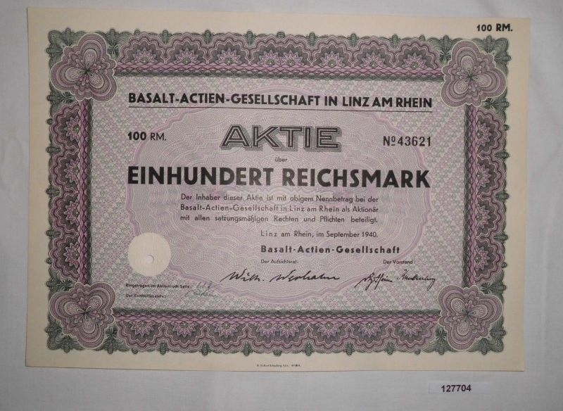 100 Reichsmark Aktie Basalt-AG in Linz am Rhein September 1940 (127704)