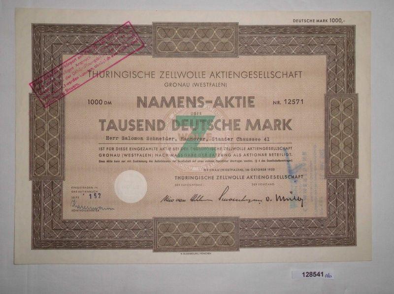 1000 Mark Aktie Thüringische Zellwolle AG Gronau (Westfalen) Okt. 1955 (128541)