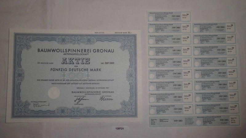 50 Mark Aktie Baumwollspinnerei Gronau in Westfalen Oktober 1987 (128721)