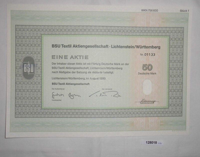 50 Dt. Mark Aktie BSU Textil AG Lichtenstein / Württemberg August 1990 (128018)