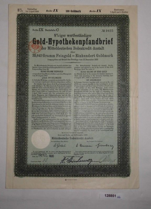 100 Goldmark Pfandbrief Mitteldeutsche Bodenkredit-Anstalt Greiz 1929 (128851)