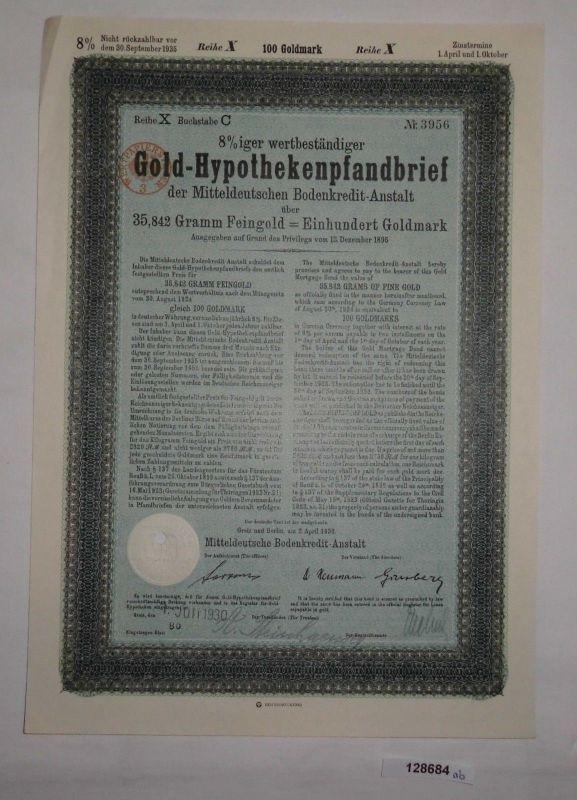 100 Goldmark Pfandbrief Mitteldeutsche Bodenkredit-Anstalt Greiz 1930 (128684)