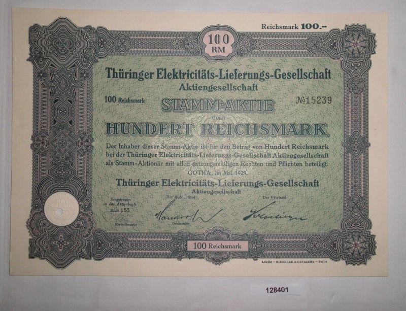 100 RM Aktie Thüringer Elektricitäts-Lieferungs-Gesellschaft Gotha 1929 (128401)