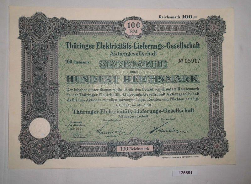 100 RM Aktie Thüringer Elektricitäts-Lieferungs-Gesellschaft Gotha 1929 (125691)