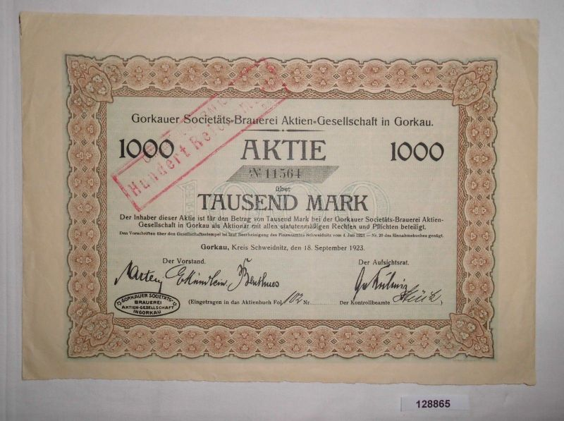 1000 Mark Aktie Gorkauer Societäts Brauerei AG 18. September 1923 (128865)