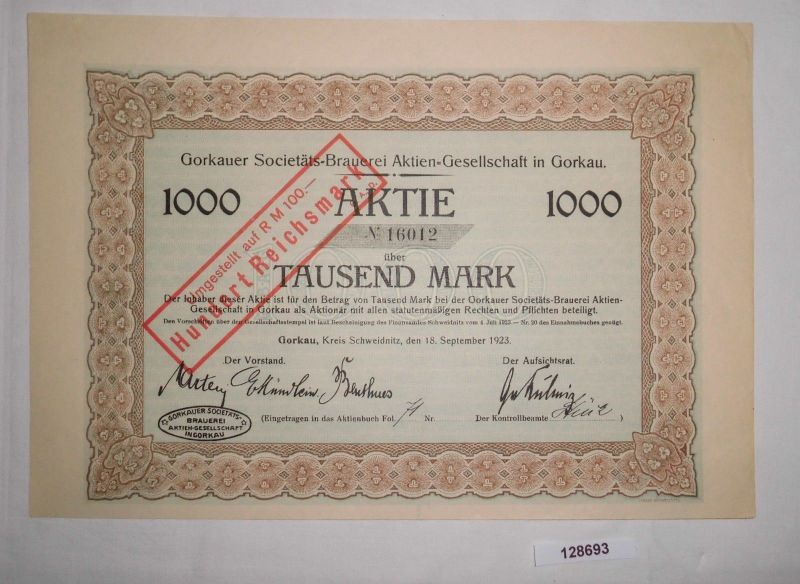 1000 Mark Aktie Gorkauer Societäts Brauerei AG 18. September 1923 (128693)