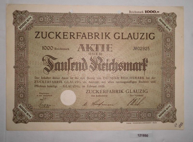 1000 Reichsmark Aktie Zuckerfabrik Glauzig Februar 1929 (121850)