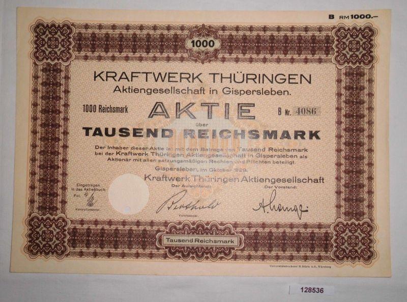 100 Reichsmark Aktie Kraftwerk Thüringen AG Gispersleben Oktober 1929 (128536)