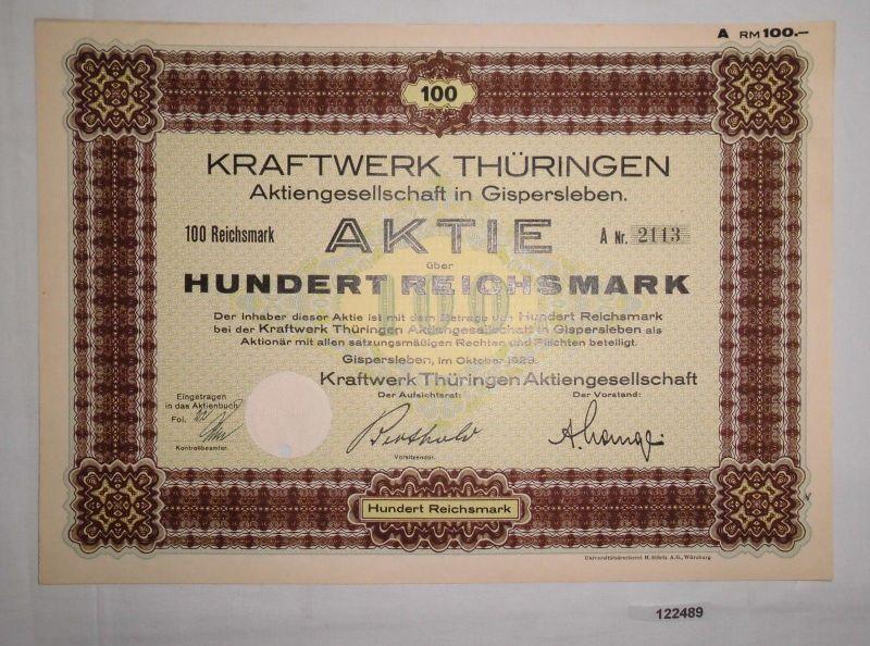 100 Reichsmark Aktie Kraftwerk Thüringen AG Gispersleben Oktober 1929 (122489)