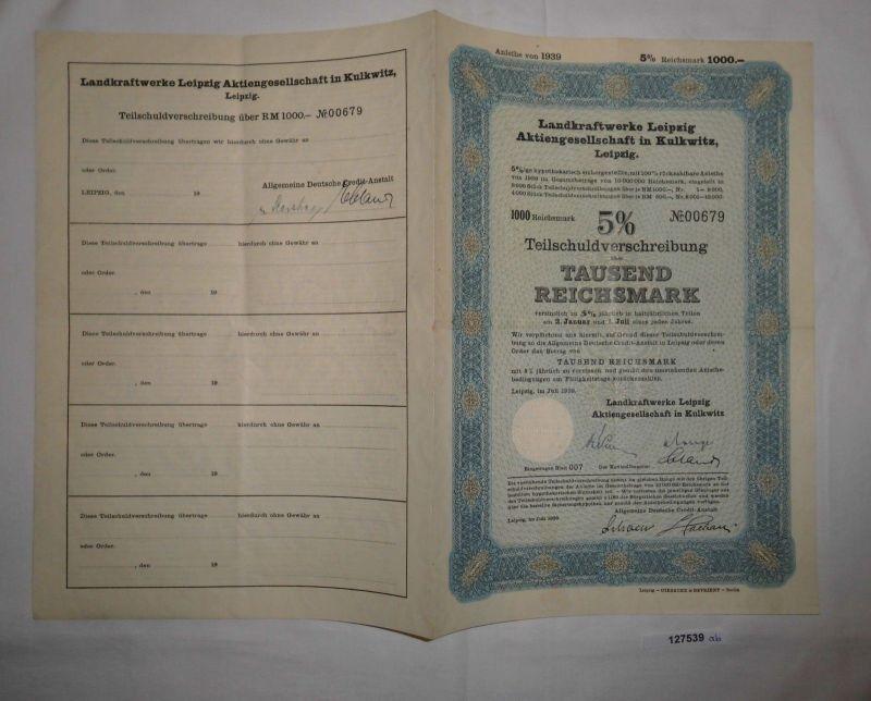 1000 Reichsmark Schuldverschreibung Landkraftwerke Leipzig AG Juli 1939 (127539)