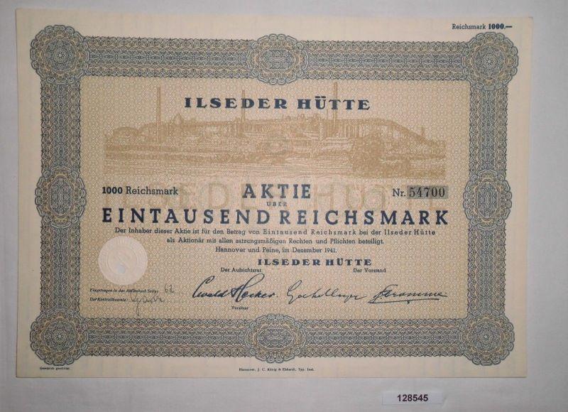 1000 Reichsmark Aktie Ilseder Hütte Hannover & Peine Dezember 1941 (128545)